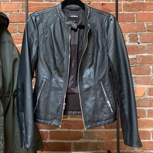 Express black leather jacket size small
